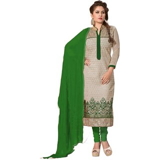 Shopping Queen Voguish Green Chanderi Semi-Stitched Salwar Suit