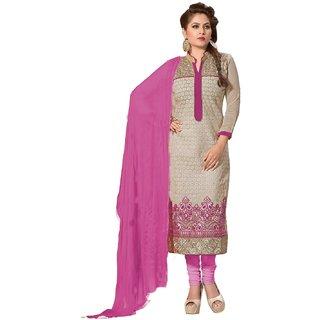 Shopping Queen Elegant Pink Chanderi Semi-Stitched Salwar Suit