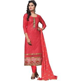 Shopping Queen Exquisite Peachpuff Cotton Semi-Stitched Salwar Suit