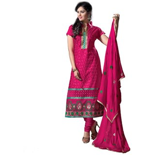 Shopping Queen Elegant Peachpuff Cotton Semi-Stitched Salwar Suit
