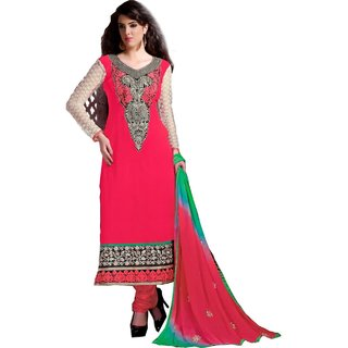 Shopping Queen Pink Chanderi Semi-Stitched Salwar Suit