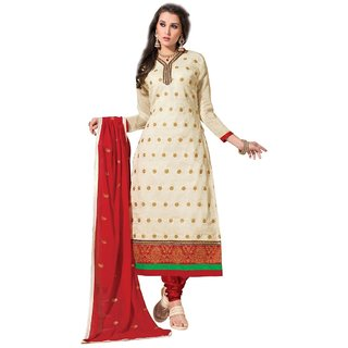 Shopping Queen Silver Chanderi Semi-Stitched Salwar Suit