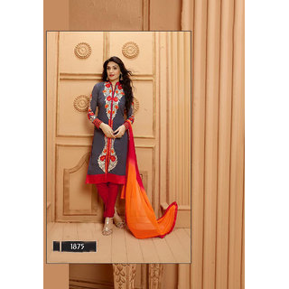 Thankar Grey And Red Embroidered Faux Georgette Straight Suit