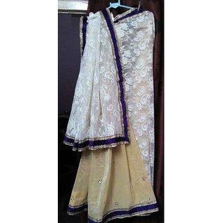 Designer saree white golden colour with volet golden velvet less