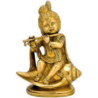 Redbag Baby Krishna Playing Flute Sitting on Shell Conch - Brass Statue ( BS - 4