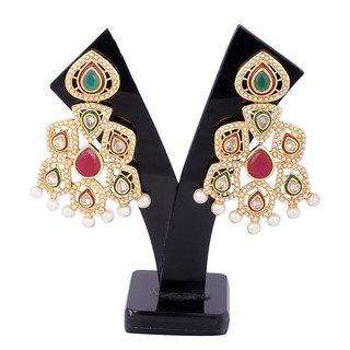Jewel Addiction Green Ruby Kundan Pearl Earrings