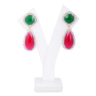 Jewel Addiction Ruby Emerald Drop Shaped Classy Earrings