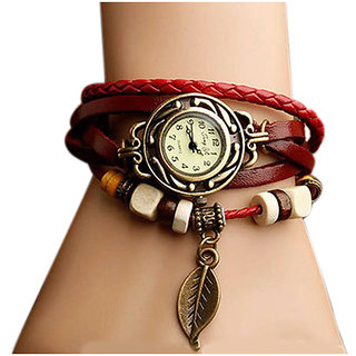 Vintage Weave Wrap Leather Wings Women Bangle Bracelet Vintage Quartz Watches gift