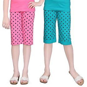 SINIMINI GIRLS DOT PRINT COLORFUL CAPRI (PACK OF 2)SM777_MPINK_TBLUE