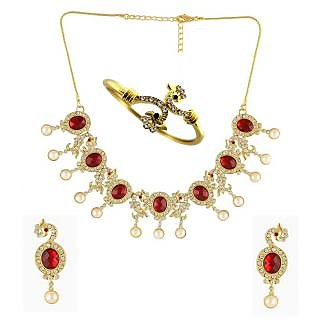 Dg Jewels Beautiful Peacock 1 Necklace Set & 1 Bracelet-DGPSCombo027