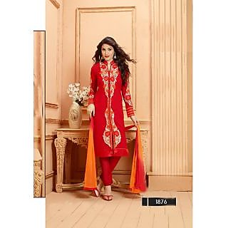 Thankar Red Embroidered Faux Georgette Straight Suit