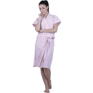 Vixenwrap Daisy Pink Stripes Water Absorbent Cotton Bathrobe