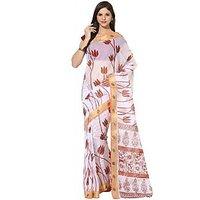 Fostelo White Cotton Printed Saree With Blouse