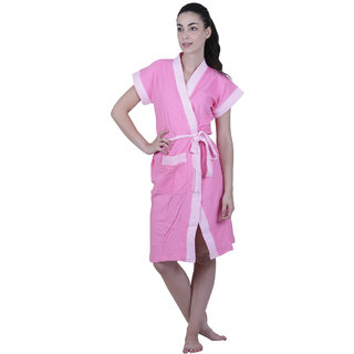 Vixenwrap Taffy Pink Solid Water Absorbent Cotton Bathrobe
