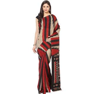 Fostelo Beige Bhagalpuri Silk Printed Saree With Blouse