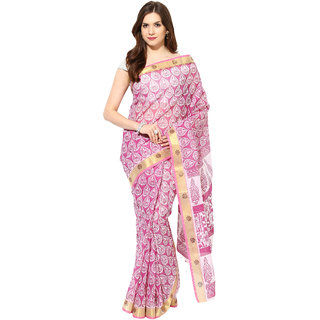 Fostelo Pink Cotton Printed Saree With Blouse
