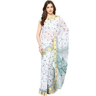 Fostelo Blue & White Polycotton Printed Saree With Blouse