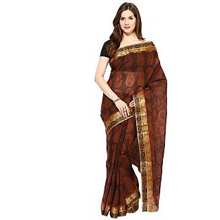 Fostelo Brown Jacquard Batik Print Saree With Blouse