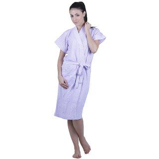Vixenwrap Lavender Stripes Water Absorbent Cotton Bathrobe
