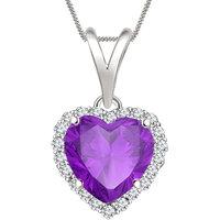 Silver Dew 925 Sterling Silver Valentine Heart Amethyst Cz Diamond Pendant