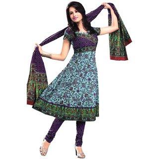 Sai Creation Purple cotton unstitched dress material