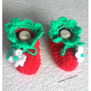 Handmade Crochet Strawberry Baby Booties