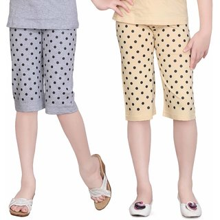 SINIMINI GIRLS DOT PRINT COLORFUL CAPRI (PACK OF 2)SM777_WMELANGE_BEIGE