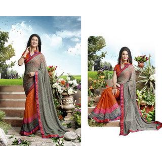 Khoobee Printed Georgette Half & Hlaf Saree(Orange,Grey)