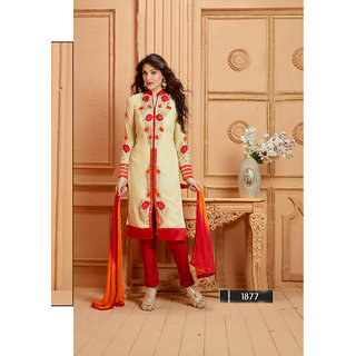 Thankar Ivory Cream And Red Embroidered Faux Georgette Straight Suit
