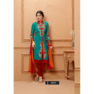 Thankar New Designer Sky Blue And Red Straight Suit