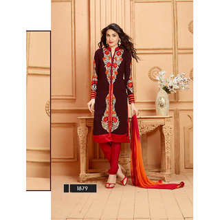 Thankar Brown And Red Embroidered Faux Georgette Straight Suit