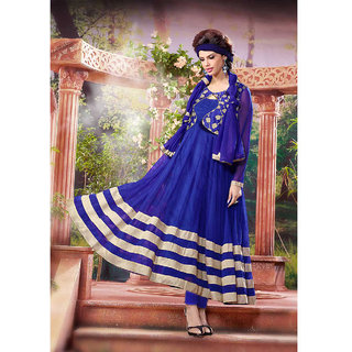 Thankar Blue And White Embroidered Net Anarkali Suit