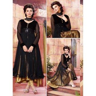Thankar Black And Golden Embroidered Net And Velvet Anarkali Suit