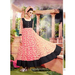Thankar Peach And Black Embroidered Net Brasso And Dhupian Anarkali Suit