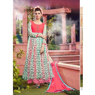 Thankar Peach And Green Embroidered Net Brasso And Dhupian Anarkali Suit
