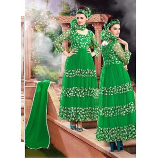 Thankar Green And Cream Embroidered Net Brasso Anarkali Suit