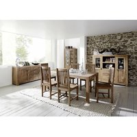 State Natural Finish Modern Dining Table Folding Tri Legs