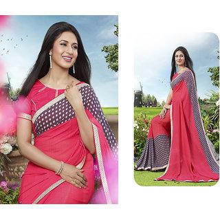 Jiya Printed Georgette Saree(Pink,Grey)
