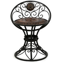 Onlineshoppee Design Wooden & Wrought Iron Chair Size (LxBxH-16x13x18.5) Inch