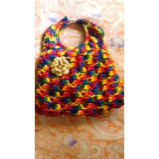 multicoloured crochet ring bag
