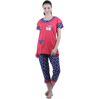 Vixenwrap Navy Blue Polka  Red Printed Nightsuit