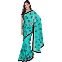 Janasya Black Chiffon Printed Saree With Blouse