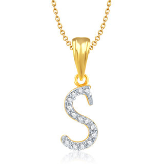 S Letter Cz Initial Men Woman 18K Yellow Plated Fashion Jewels Pendant
