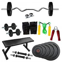 Fitfly Home Gym Set With 20 Kg Weight&Flat Bench&3Ft Curl Rod&Dumbbells&Gloves