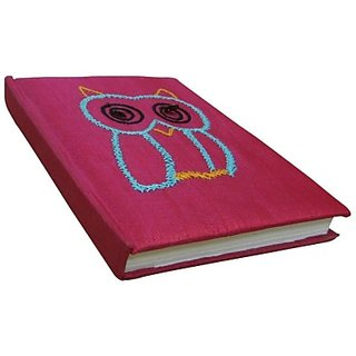 Indha Craft Owl Embroidery Pink A6 Diary Hand Sewn(PID213541)