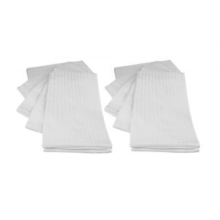 Just Hospitality Economy Pack of 10 300 TC Cotton Sateen Pencil Striped White Regular Size Pillow Covers