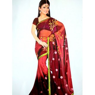 Red Maroon saree