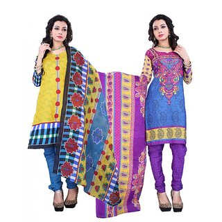 Surat Tex yellow & blue cotton combo of 2 salwar kameez (Unstitched)