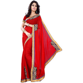 Florence Red Georgette Embroidered Saree (FL-10597)