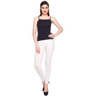 Valentine Trendy Cotton Lycra White Ankle Leggings
